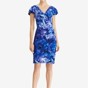 Lauren Ralph Lauren Flutter-Sleeve Dress NWT